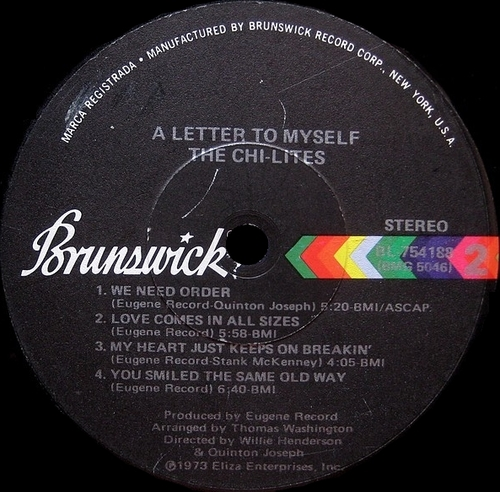 "The Chi-Lites : Album "" A Letter To Myself "" Brunswick Records BL 754188 [ US ]"