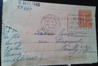 Entier postal - semeuse lignée 50c rouge