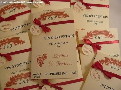 Faire part étiquette bouteille de vin thème vignoble