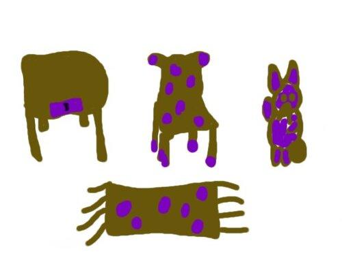 Un ensemble de meuble maron, violet avec une petite poignet noir