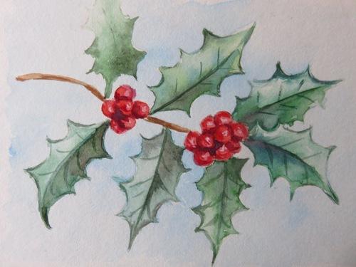 cartes de Noël à l'aquarelle
