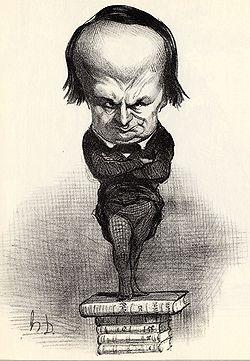 L'Écrivain.Caricature de Victor Hugo par Daumier, parue dans le Charivari du 20 juillet 1849.