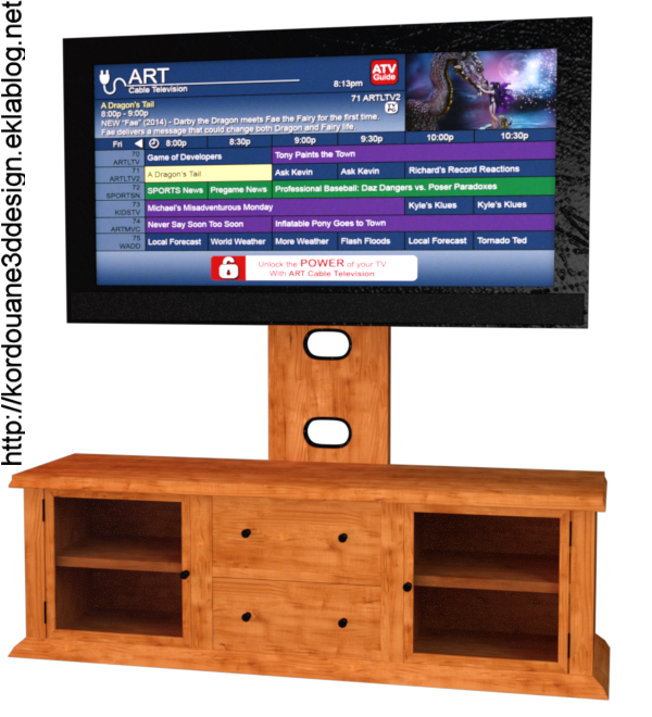 Tube télévision avec meuble (render-image)
