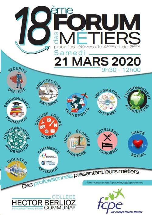 18ème forum des métiers le samedi 21 mars 2020 de 9h30 à 12h