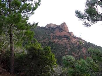 Au départ, vue sur le Roc Cabrier. La pointe du Rocher de Saint Barthélémy se devine à peine (flèche bleue)