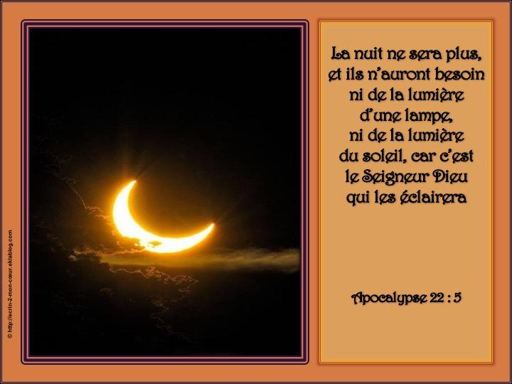 Dieu nous éclaire - Apocalypse 22 : 5