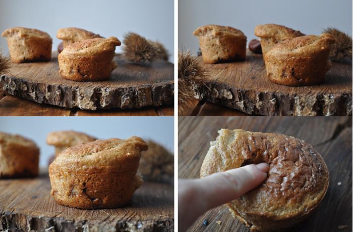 Muffins à la farine de châtaigne et coeur chocolat fondant
