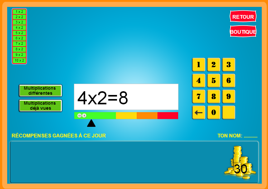 Ateliers et jeux autour des tables de multiplication de 2 for Table de multiplication de 6 7 8 9