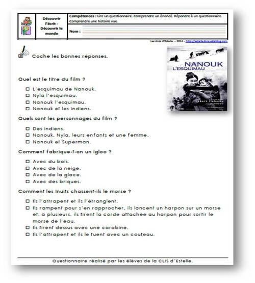 Nanouk l'esquimau - Questionnaire 1 niveau 2