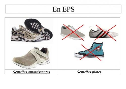 Chaussures autorisées en EPS