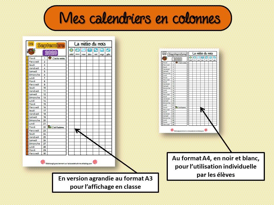 Calendrier Individuel Cp 2022 2023 Mes calendriers en colonnes   La classe de Ludivine
