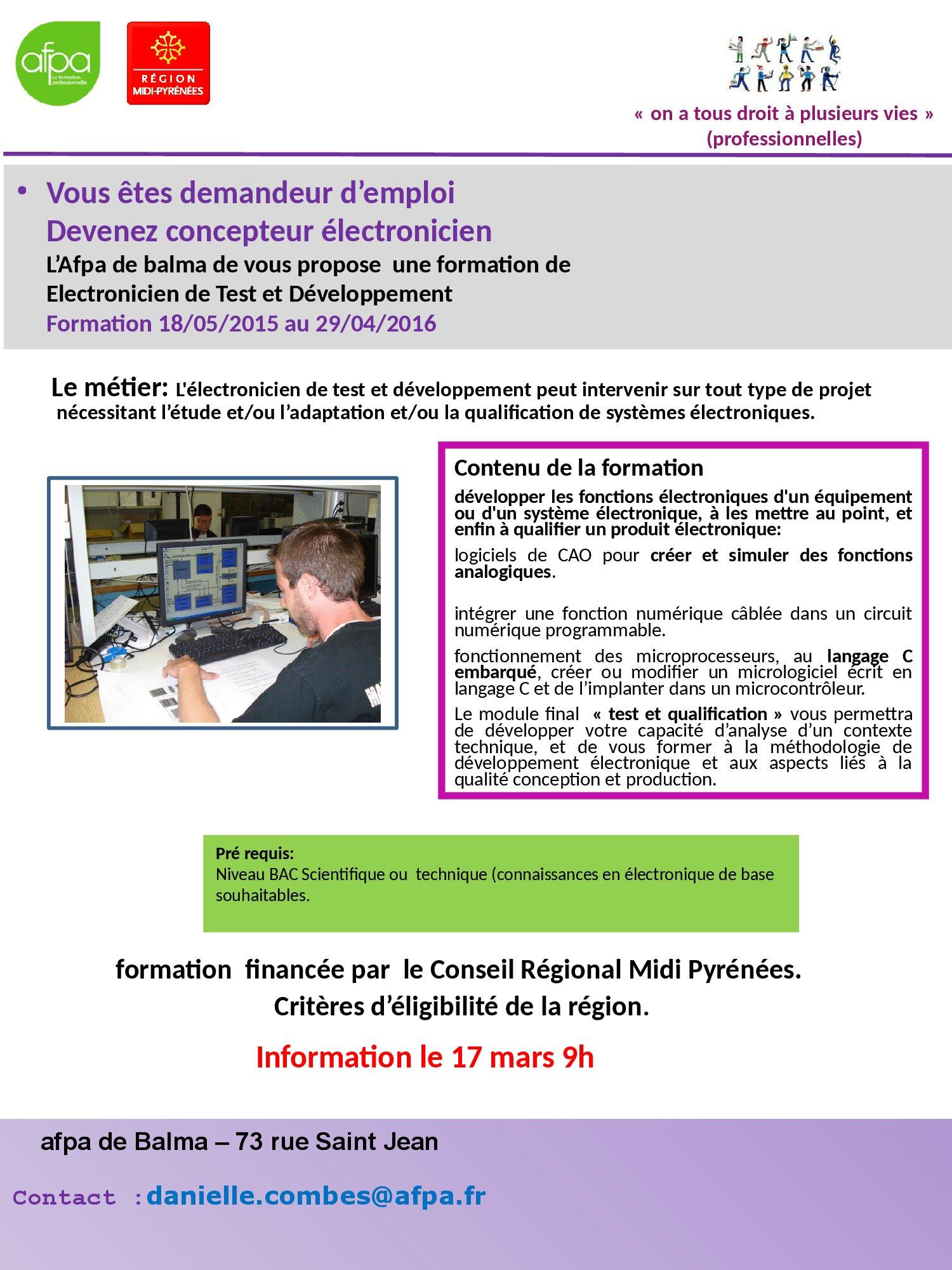 Formation Afpa Concepteur Lectronicien Linfo Jeunesse Au Sicoval Simulation Des Circuits Analogiques Et Ou Numriques