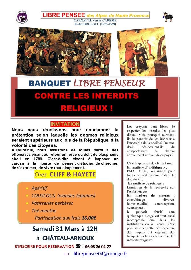 INVITATION BANQUET LIBRE PENSEUR 31 Mars 2018
