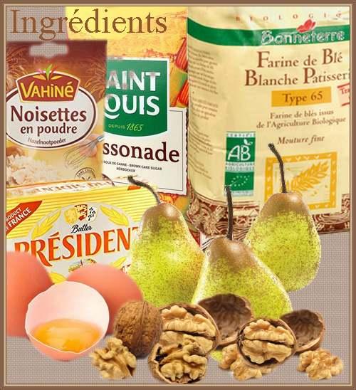 Cake aux poires, noix, noisettes