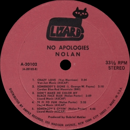 "Nolan Porter "" No Apologies "" Lizard Records A-20102 [ US ]"