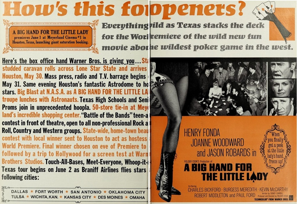 A BIG HAND FOR THE LITTLE LADY BOX OFFICE USA 1966