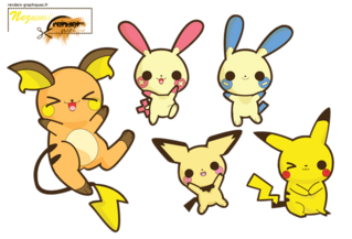 Render Pokemon - Renders A Little Kitty Pokemon Electrique Cute Chibi Kawaii Raichu Pikachu Pichu Negapi Posipi
