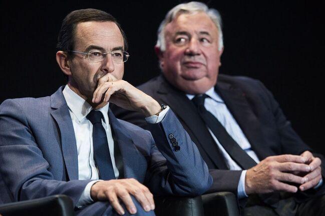 Bruno Retailleau, le président du groupe LR au Sénat, et Gérard Larcher, qui préside la Chambre haute, le 23 septembre.