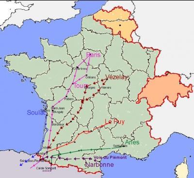 Les principaux chemins en France