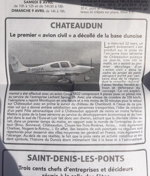 1er vol de transport civil depuis Châteaudun : coupures de presse