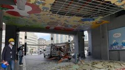 Gare centrale : effondrement de la fresque des Schtroumpfs