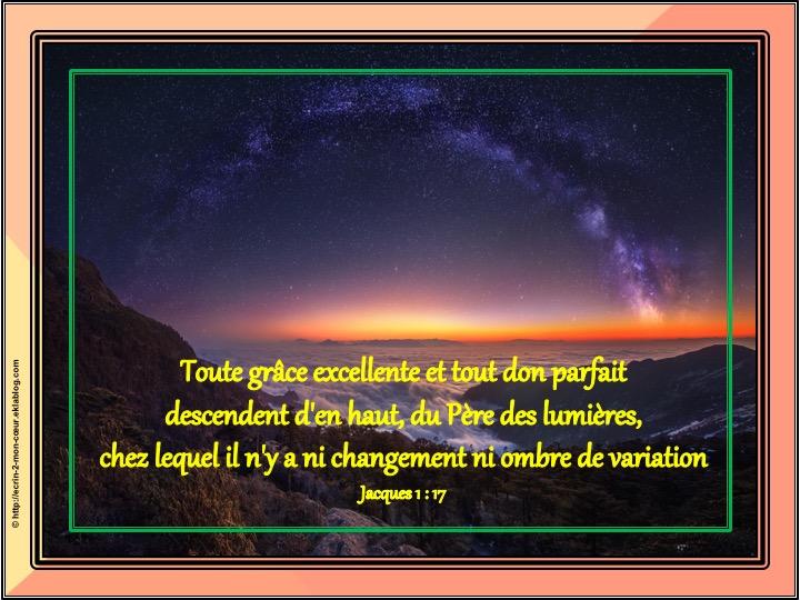 Toute grâce excellente et tout don parfait - Jacques 1 : 17