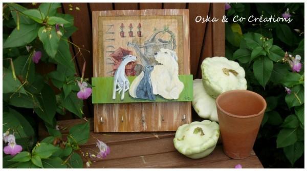 maman et bébé irish wolfhound et whippet sur porte clefs