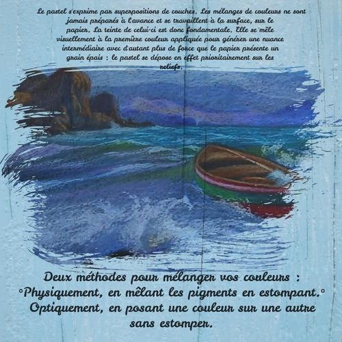 Dessin et peinture - vidéo 3474 : Peindre une barque de pêche dans la tourmente - craies de pastels gras.