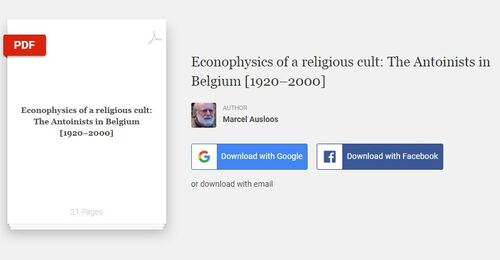 Marcel R. Ausloos - Econophysics of a religious cult: the Antoinists in Belgium [1920-2000] (2012)