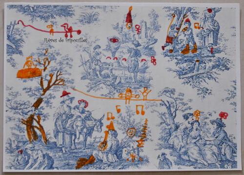 Dessins sur toile de jouy à partir du livre Louna et la chambre bleue