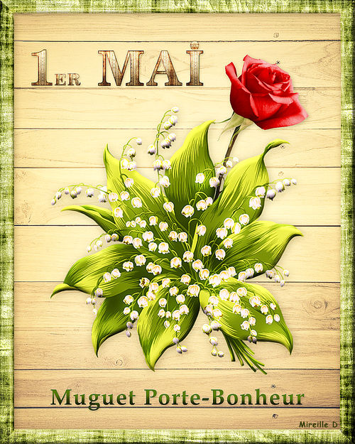 Muguet du 1er Mai (Carte montage et Papier Outlook assorti)