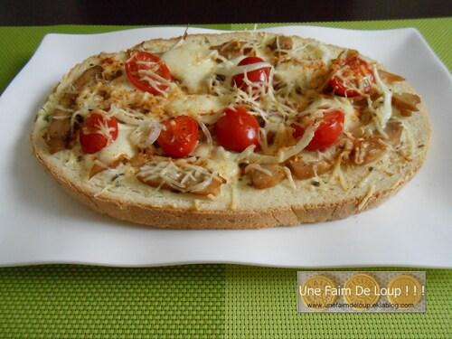 Bruschetta au poulet, tomate & mozzarella