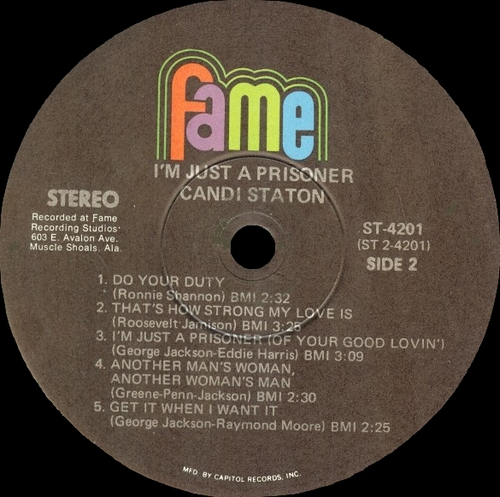 "Candi Staton : Album "" I'm Just A Prisoner "" Fame Records ST 4201 [ US ]"