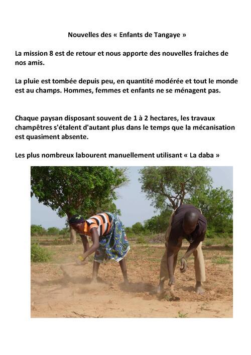 RETOUR DE TANGAYE - MISSION 8 (juillet 2014)