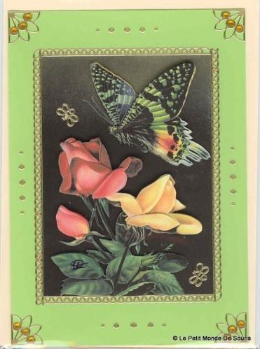 carte 3d fleurs et papillon