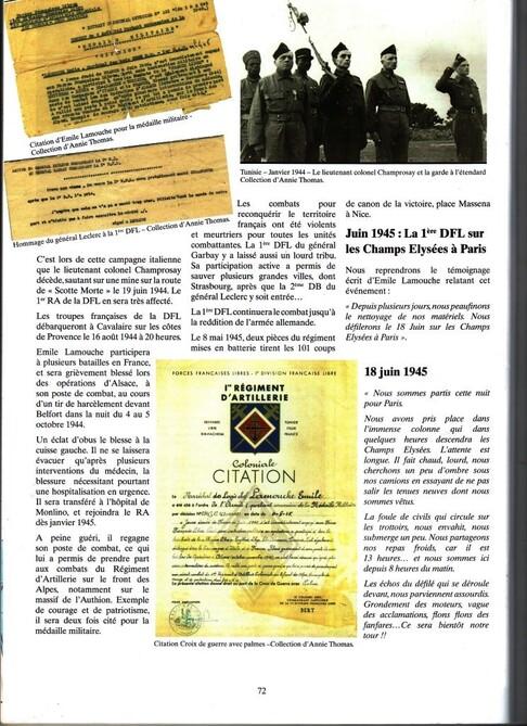 * Témoignage d'Emile LAMOUCHE engagé volontaire dans les FFL (1er RA) - seconde partie
