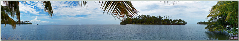 Panorama sur la baie Teto'oroa avec le motu Horea - Raiatea - Polynésie française