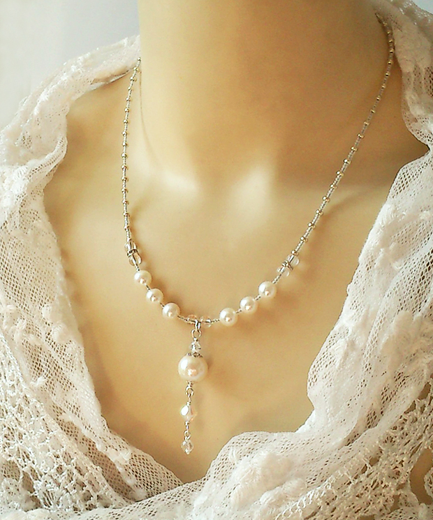 Collier pendentif Perles de Culture blanc crème, Cristal de roche ...