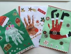Cartes de Noël avec empreintes de main