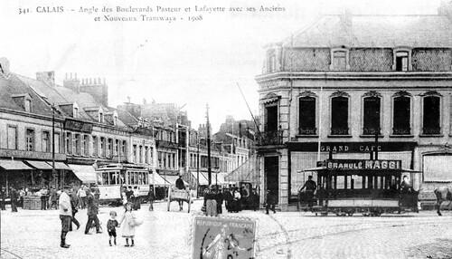 1908, trams hippomobile et électriques cohabitaient