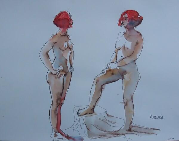 Clotilde, deux poses debout