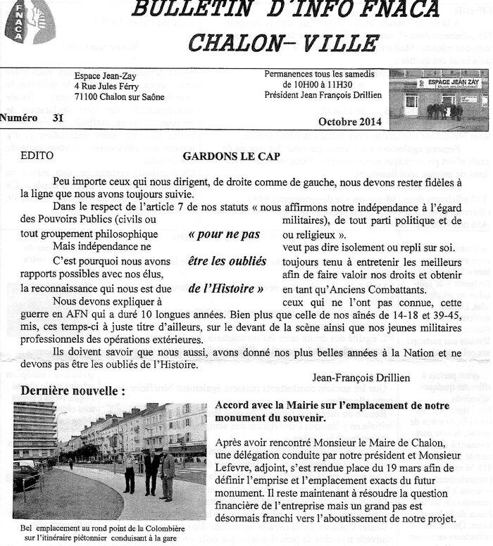 Sur le bulletin d'info FNACA CHALON-VILLE *** L'Edito de son président Jean-François Drillien *** Accord avec la Mairie sur l'emplacement du Monument Souvenir