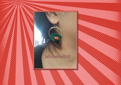Boucle d'oreille coccinelle