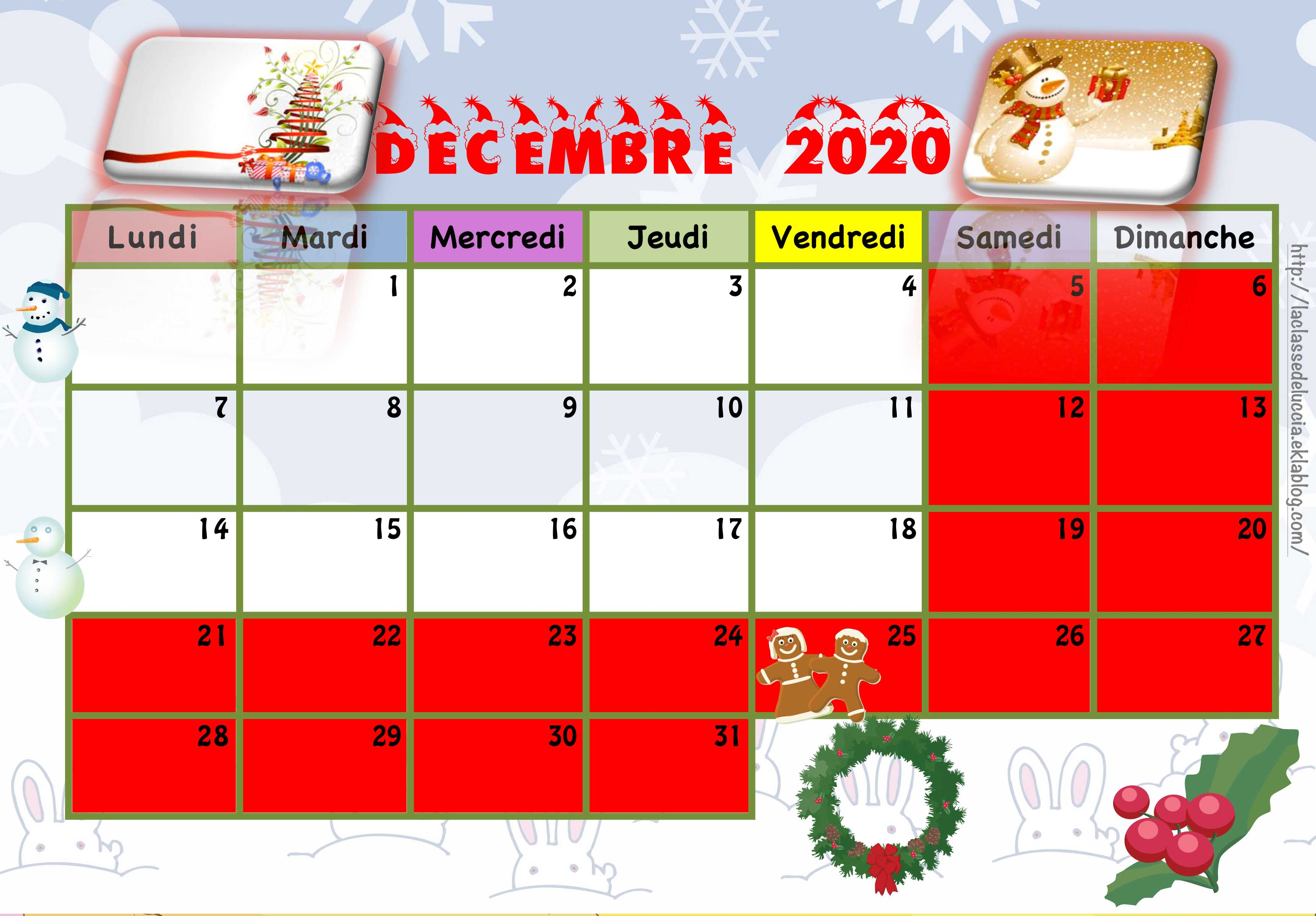 Calendrier enfant 2020/2021   La classe de Luccia !