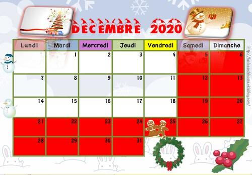 Calendrier enfant 2020/2021