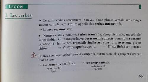 F / Verbe transitif ou intransitif ?