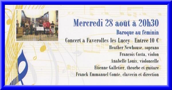 Un beau concert demain à Faverolles les Lucey...