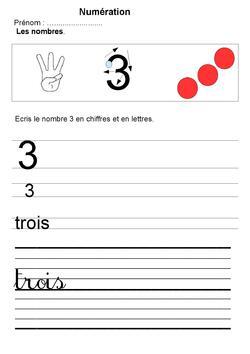 Maternelle écriture des nombres