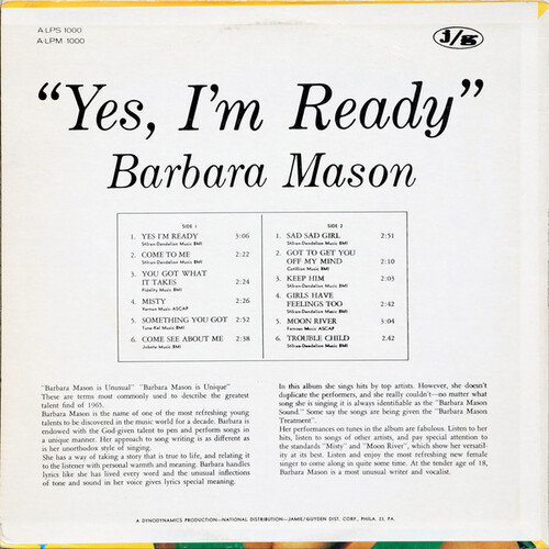 "Barbara Mason : Album "" Yes , I'm Ready "" Arctic Records A-LPS 1000 [ US ]"