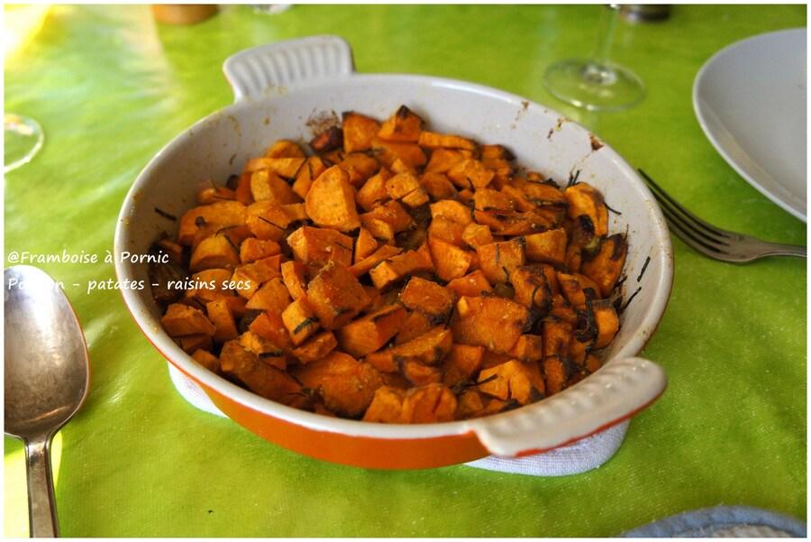 Potiron, patates douces et raisins secs